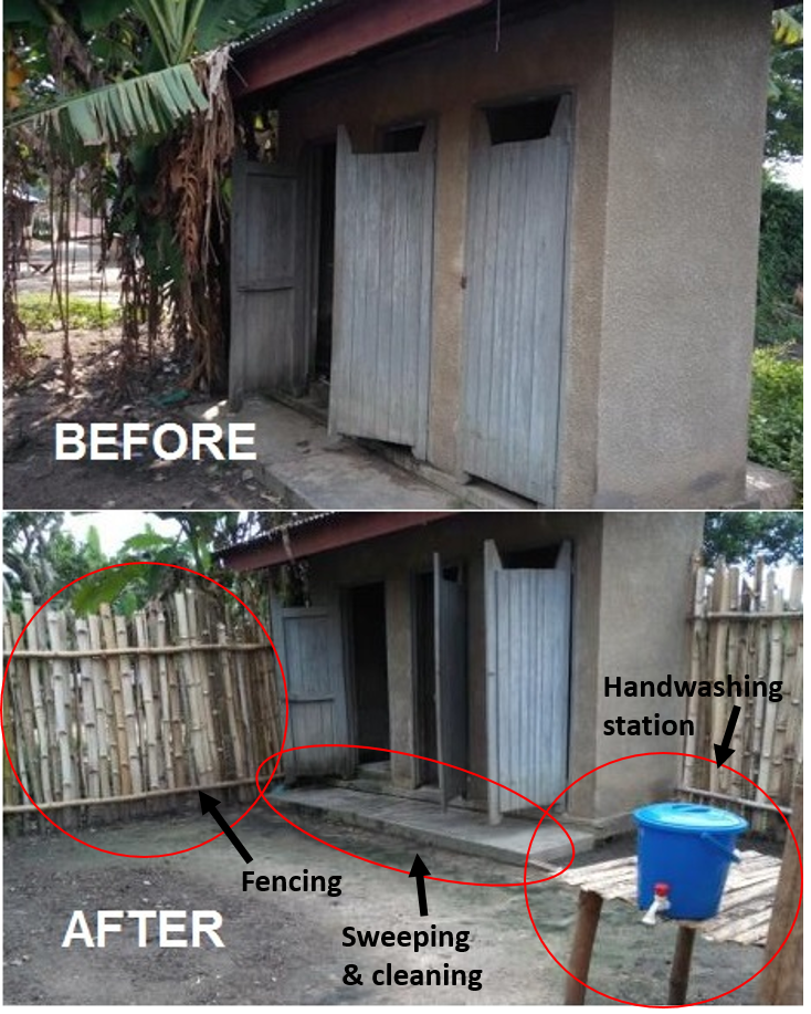 A before and after photo showing sanitation improvements at an outdoor restroom