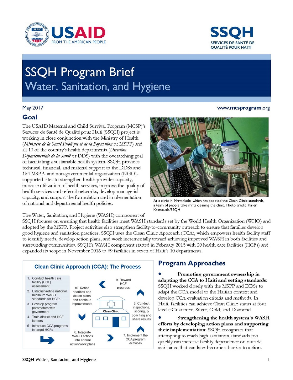 'SSQH Program Brief' cover