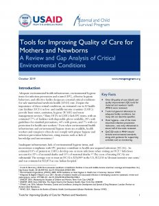 'Tools for Improving Quality of Care for Mothers and Newborns' cover
